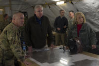 Shindand Air Base, Herat, Afghanistan-Arizona Governor Jan Brewer and Missouri Governor Jay Nixon receive a command briefing on the mission progress of National Guard forces in western Afghanistan.