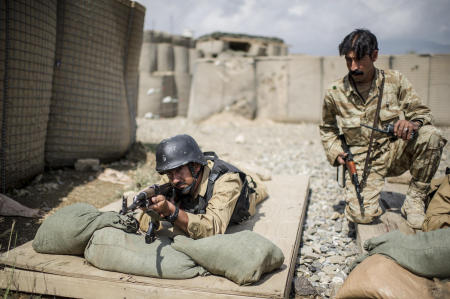 Members of the Afghan security and military forces train for various missions and capabilities in preparation for the 2014 scheduled withdrawal of US forces.